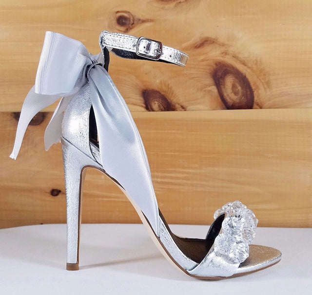 "Cape Lola 19 Silver Satin Back Bow Jeweled Toe Strap 4.5"" High Heel Sandal Shoes"