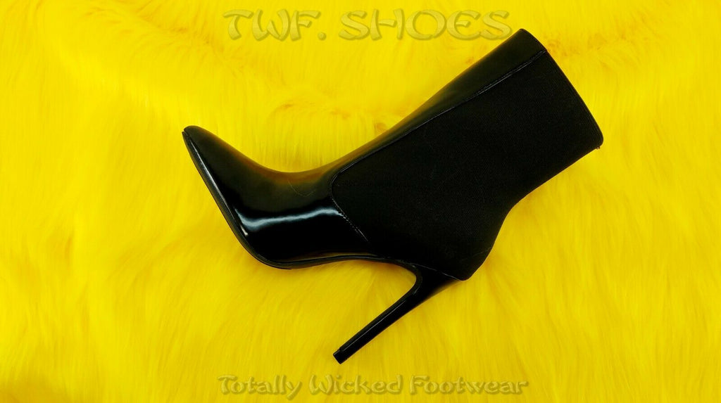 "So Me Leena Elastic Upper Pull On 4.5"" High Heel Ankle Boots Shoe 6.5-11 Black"