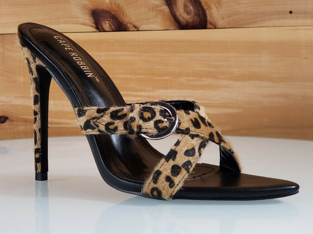 "CR Ferocious Leopard Cross Strap Open Pointy Toe Slip On 4.5"" High Heel Shoes"
