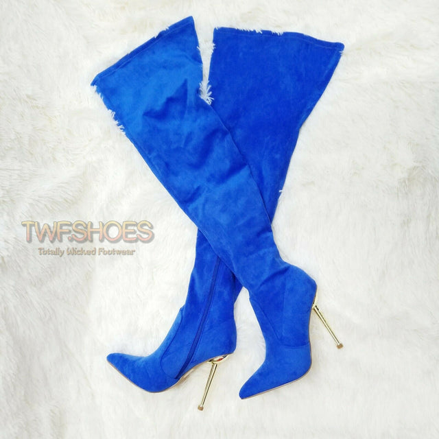 "CR Holden Blue Stretch Faux Suede Wide Top 4.5"" High Heel Thigh High Boots"