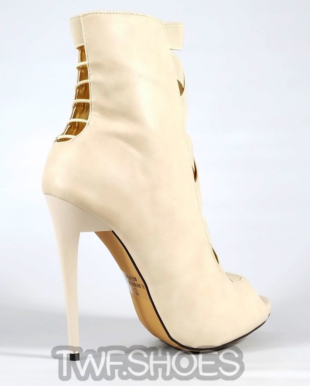 "MM Dioselin Nude Open Elastic Strap Ankle Boot 4.75"" Stiletto Heels"