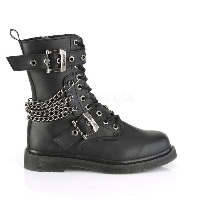 Bolt 250 Goth Chain Combat Biker Ankle Boots Black Matte Men Sizes 4-14