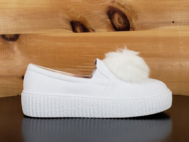 C & C Katie 1 White Slip On Pom Pom Creeper Sneaker