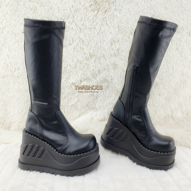 Demonia Stomp 200 Black Matte Platform Wedge Heel Knee Boots NY - Totally Wicked Footwear
