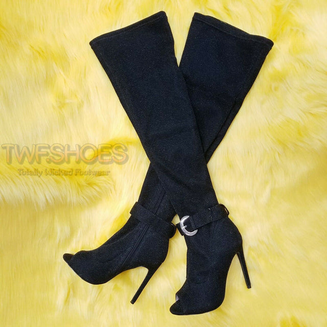 "Chic Bliss Black Shimmer Fabric 4.5"" High Heel Knee Boots Size 6.5-11"