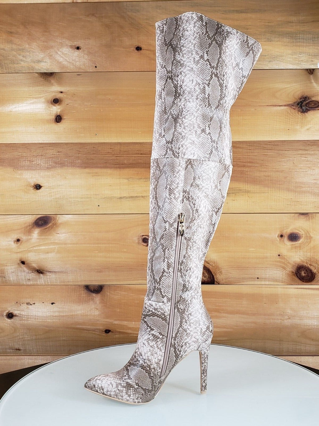 Mac J Nude Snake Pointy Toe High Heel Thigh High Boots