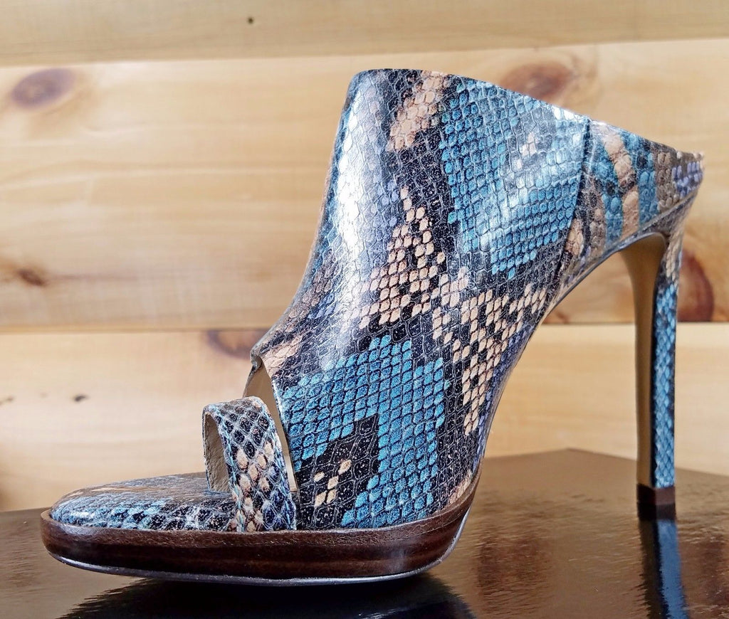 "Luichiny Rev It Up Turquoise Snake Leather 4.5"" Heel Slip On Mini Platform Shoe"