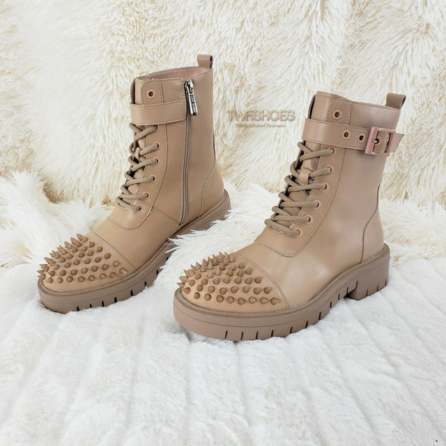 CR Bitten Nude Beige Spiked Toe Punk Combat Ankle Boots Size 6-11