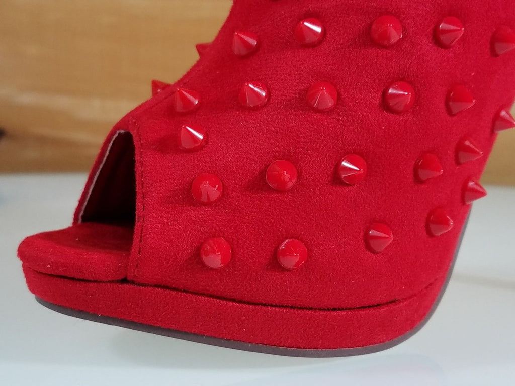 "Liliana Wicked Red Peep Toe Spiky Stud 4.75"" High Heel Slouchy Ankle Boot"