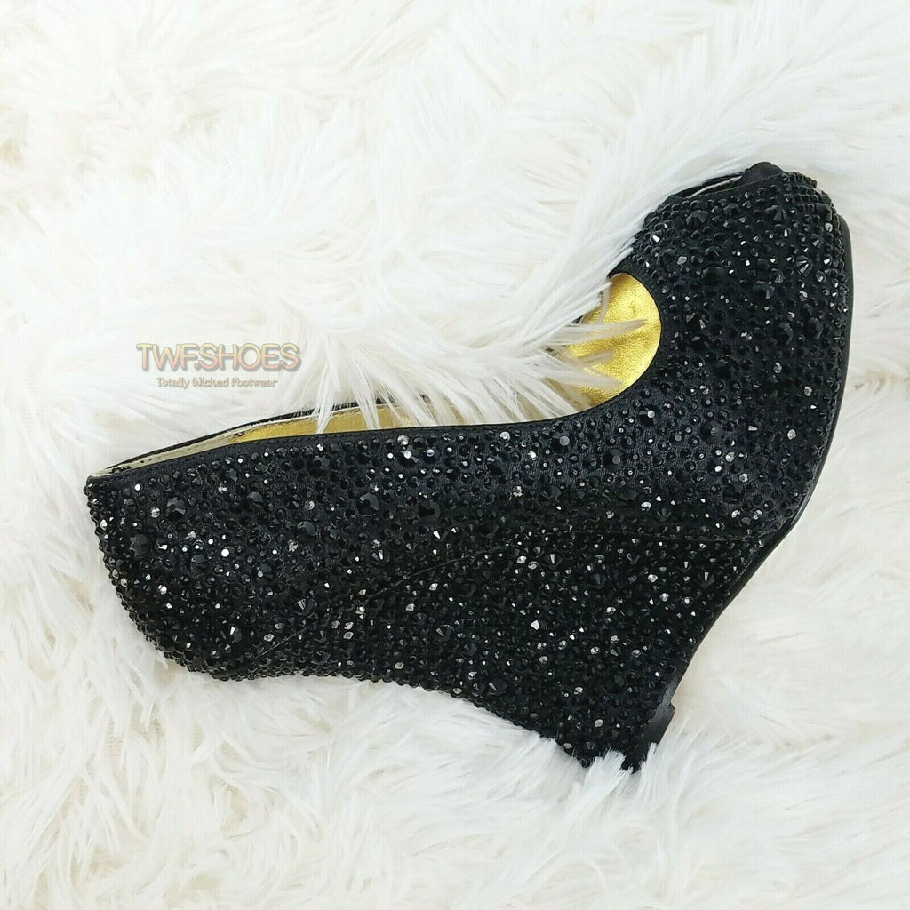 "Izzy 5"" Wedge Heel Black Satin Rhinestone Embellished Peep Toe Pump Shoes 7 - 11"