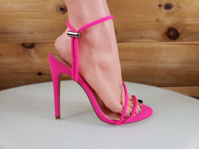 So Me Mora Flirty Open Toe  Asymmetrical Strap - High Heel Shoes Neon Pink