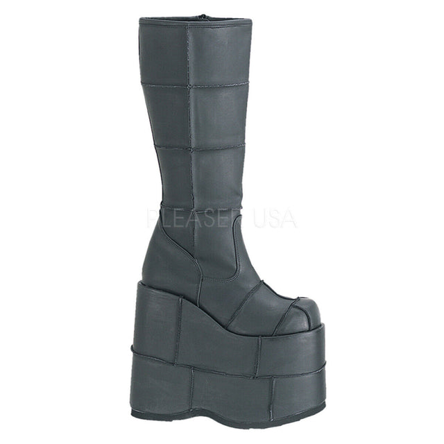 "Stack 301 Cyber Goth Gogo  7"" Stacked Platform Knee High Boot"