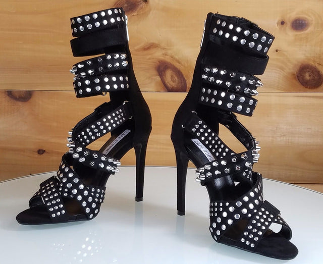"CR Black Suzzy Straps & Silver Stud Design 4.5""  High Heel Shoes Boots"