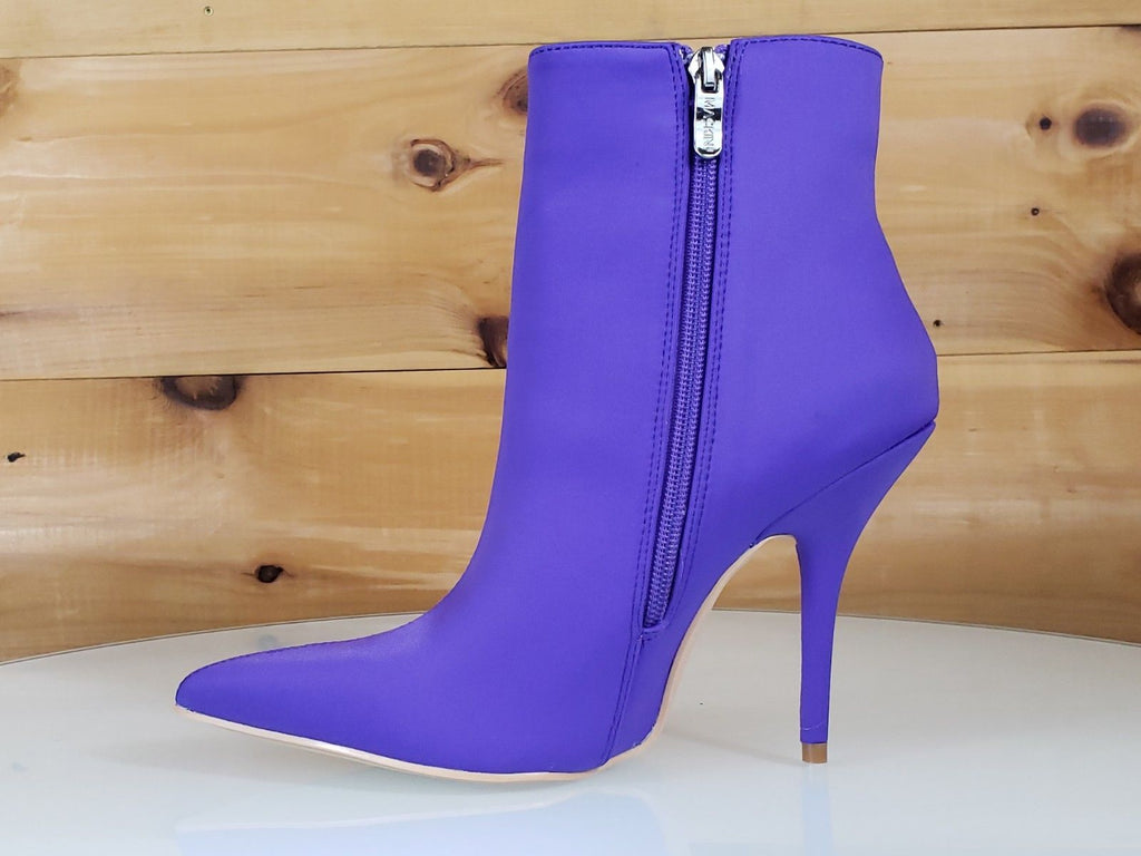 Mac J Mind Blowing Bold Purple High Heels Satin Pointy Toe Ankle Boot