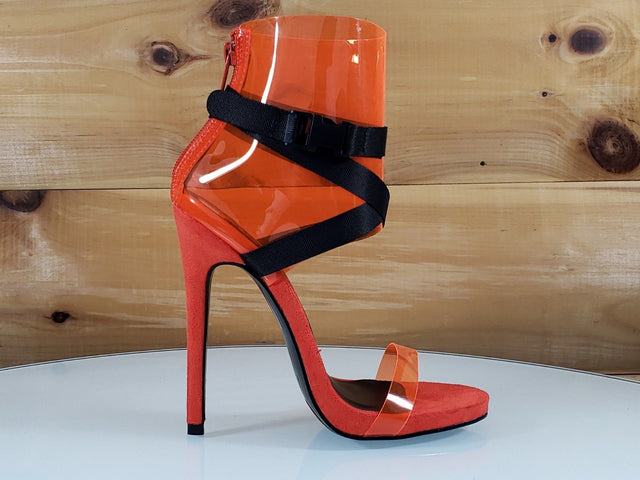 "So Me Zuleyma PCV Orange 5"" High Heel Ankle Shoes Boots"