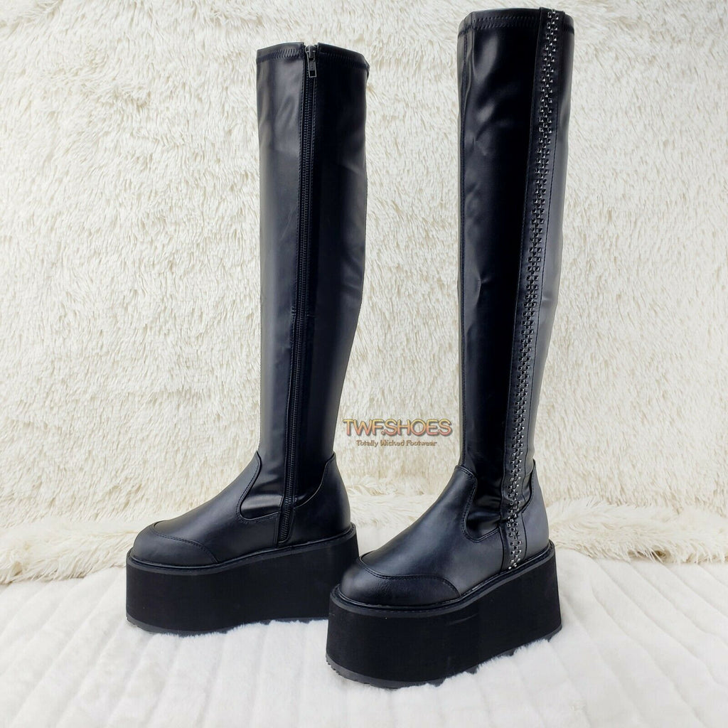 "Damned Goth Punk Rock 3.5"" Platform OTK Thigh Boots Stretch Black Matte NY - Totally Wicked Footwear"