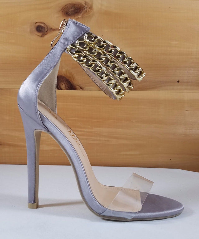 "So Me Gray Satin Chain Strap Stiletto Sandal - 4.5"" High Heel Shoes"