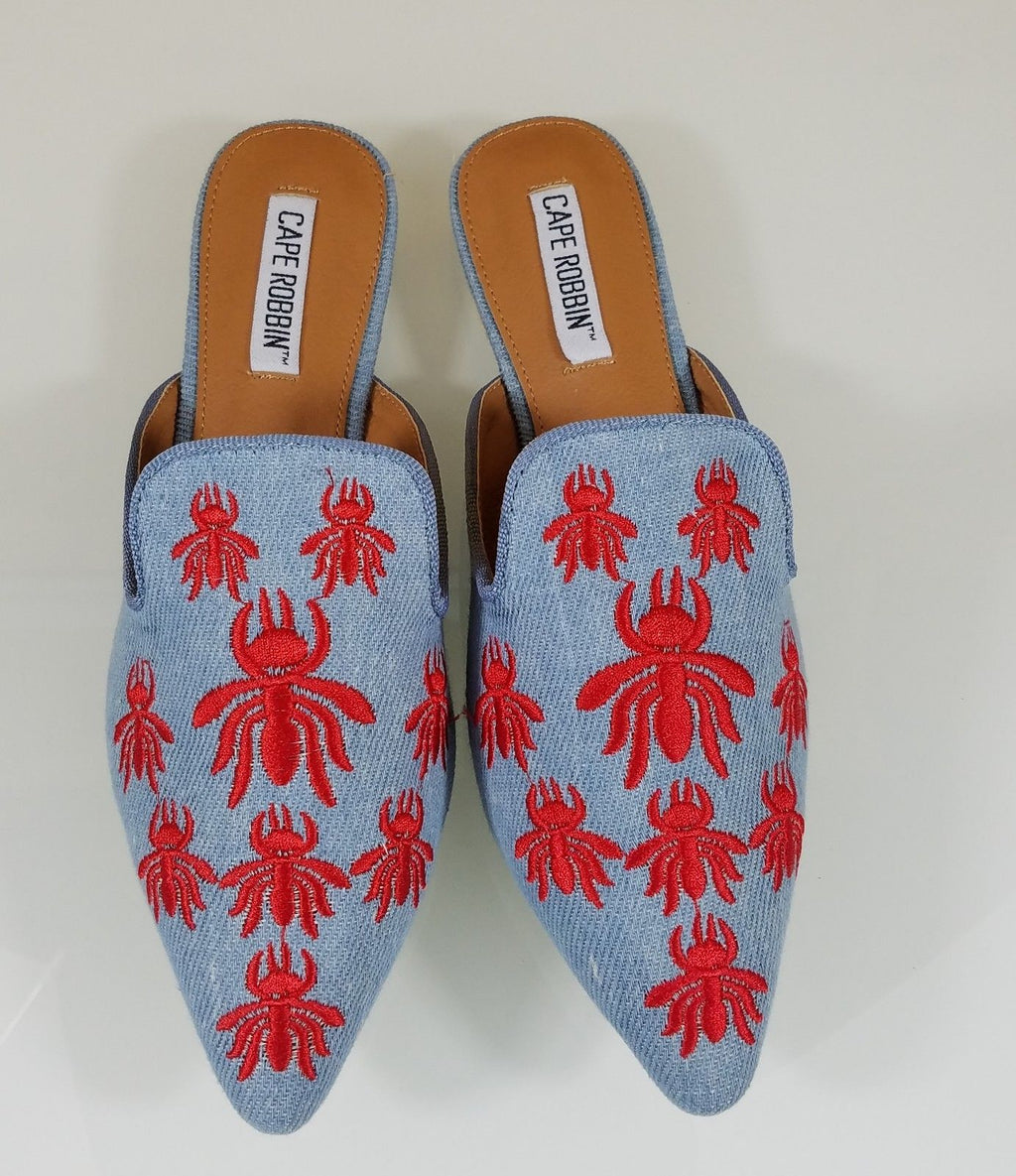 CR Pointy Toe Denim Flats Mules Clog Red Embroidered Bee Shoe Slippers