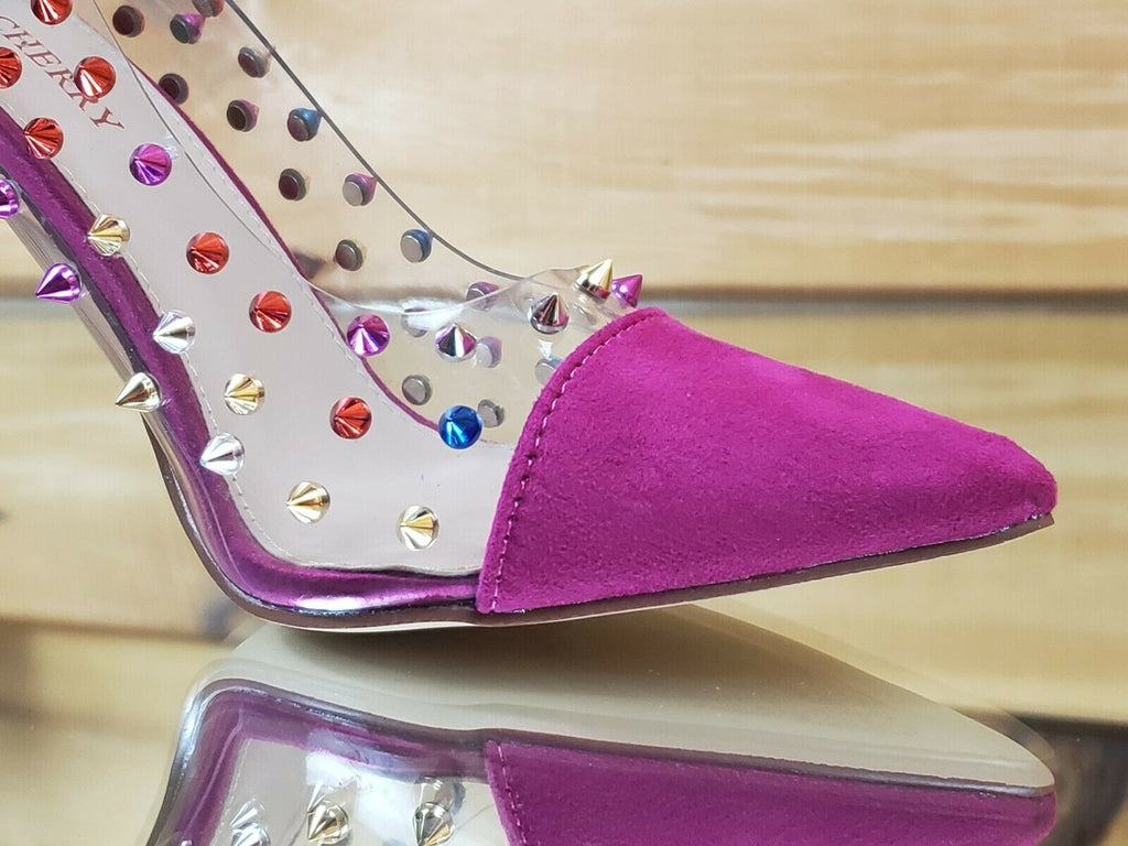 "Ricky Clear Pink Multi Color Spike Stud Pointy Toe Pump Shoe 4.5"" High Heels"
