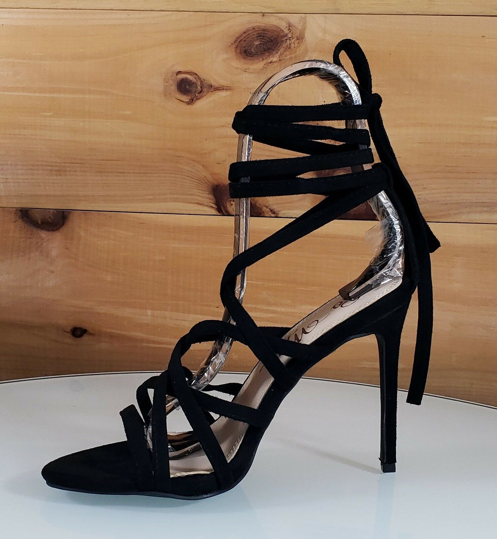 "Rhean Black Vegan Suede Open Toe Strappy Stiletto - 4.5"" High Heel Shoes"