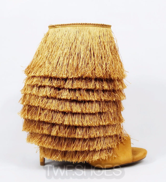 Nelly Bernal B Mambo Mustard Fringe Open Toe 4.75 High Heel Ankle Boots