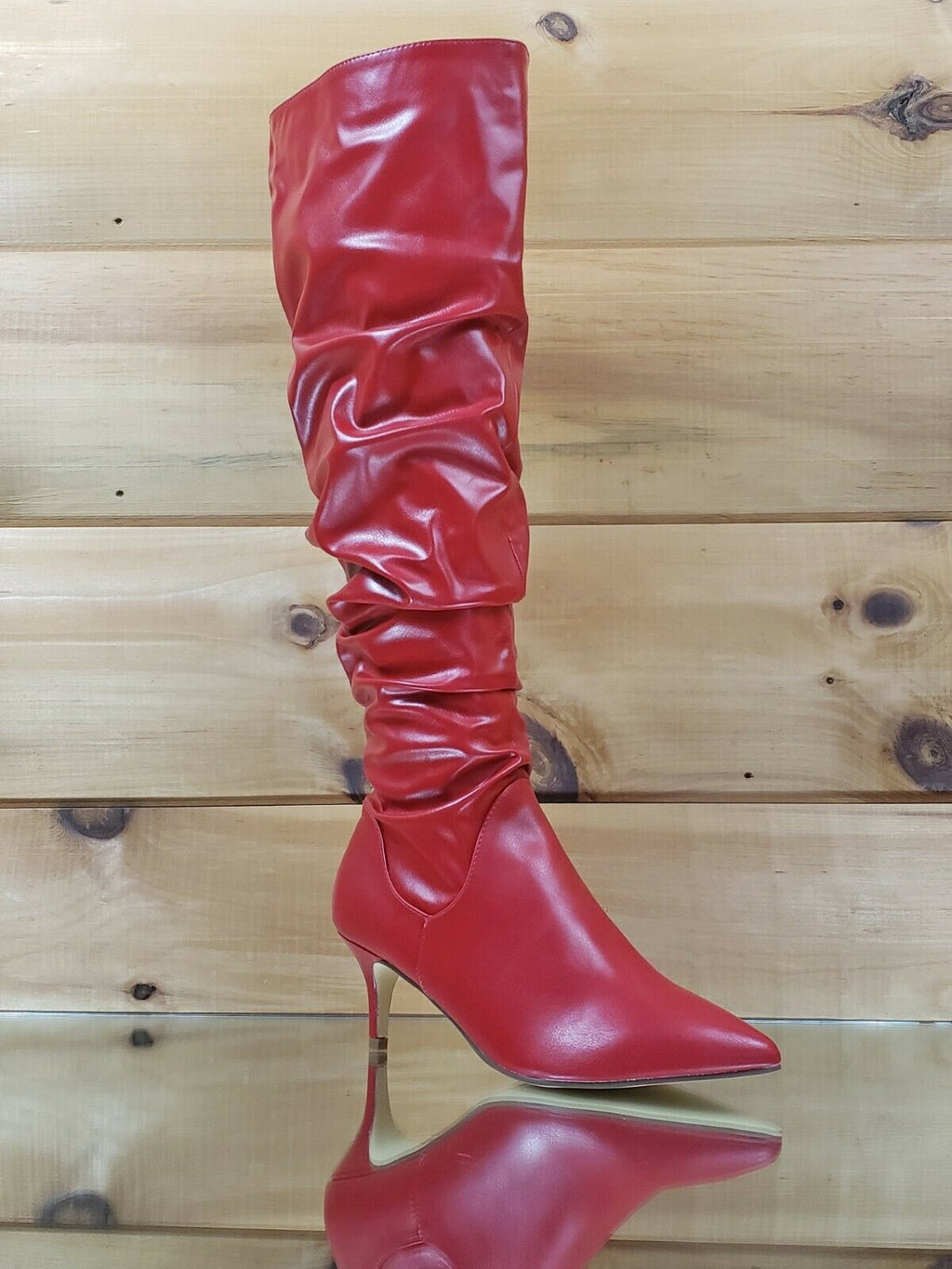 "Autumn Pointy Toe 2"" Low Kitten Heel Slouchy Knee High Boot 6.5 - 11 Red"