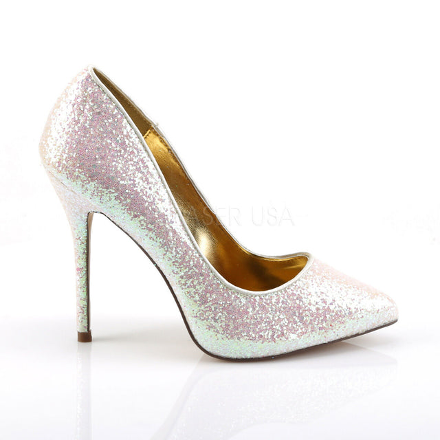 "Amuse 20g Rose Multi-Glitter Pump 5"" Heel Size 7 Shoe"