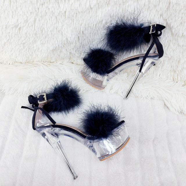 "Black Marabou Feather Platform Shoes Sandals 6"" High Heel Sandals Shoes - Totally Wicked Footwear"