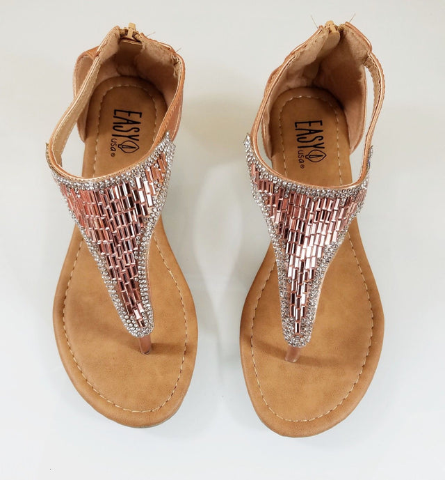 Easy USA Rose Gold Rhinestone Flat Thong Sandal Shoes Closed Back Zipper