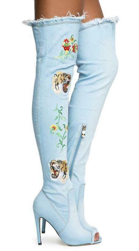 CR Stretch Denim Frayed Open Toe Tiger & Flower Embroidered High Heel OTK Boot