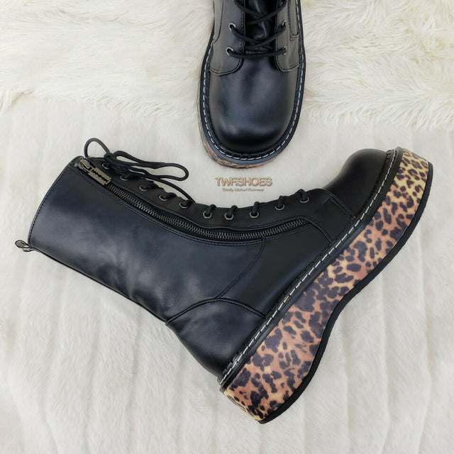 "Demonia Emily 350 Black Matte Leopard 2"" Platform Combat Boots Restocked NY - Totally Wicked Footwear"