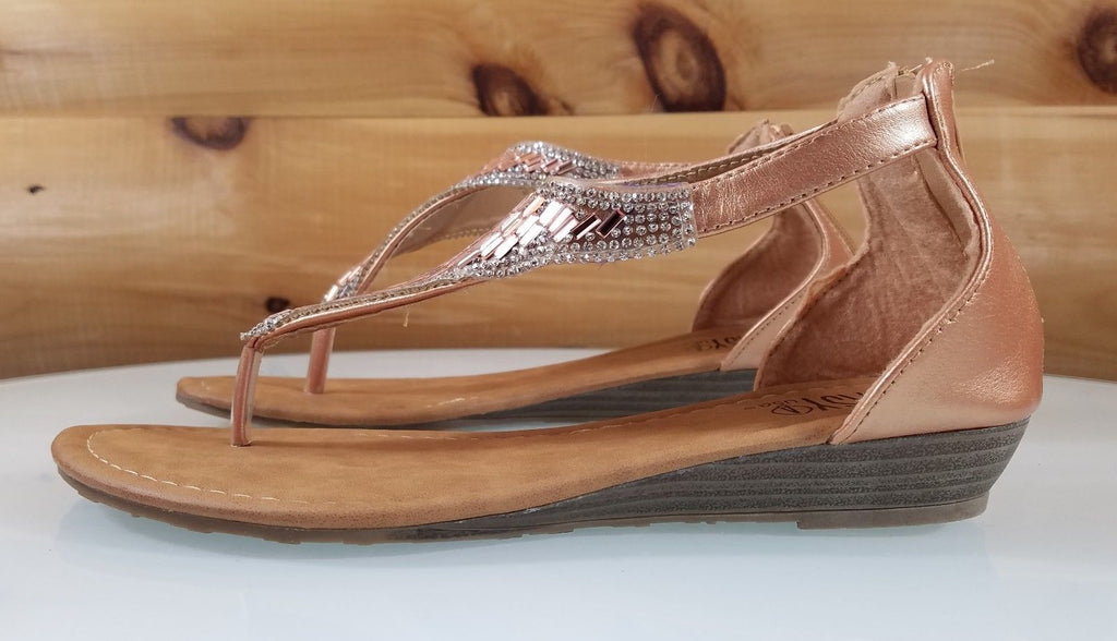 Easy USA Rose Gold Rhinestone Flat Thong Sandal Shoes Closed Back Zipper - Totally Wicked Footwear