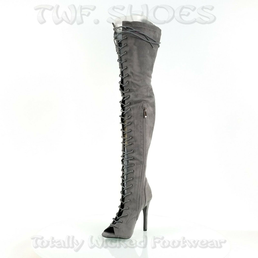 Top Show Gray Vegan Suede Open Toe High Heel Lace Up OTK Thigh Boots 6.5-11