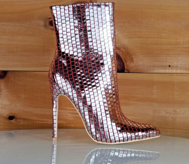 "Mac J Silver Metallic Pointed Toe 5"" High Heel Ankle Boot Shoe Maroon Red"