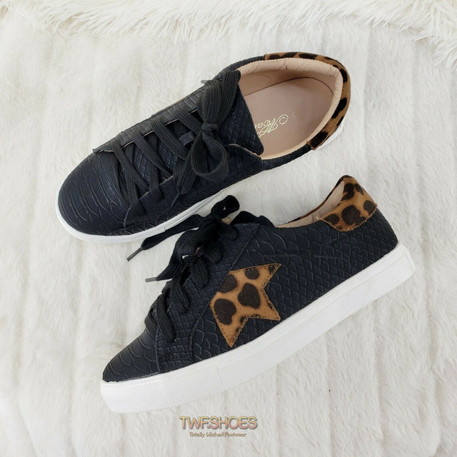 Woman's Leopard Black Snake Fashion Sneakers Coco Rubber Sole 6-10