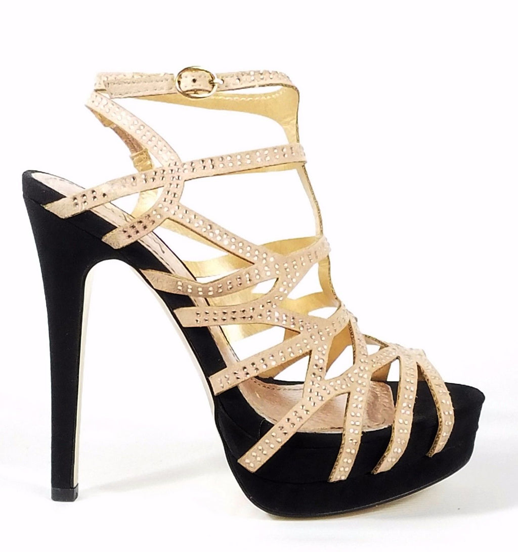 Luichiny Slingback Cut Out Rhinestone Strap Platform Shoe 7-11 Natural Black