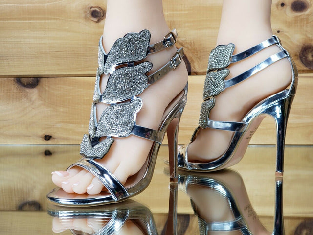 "Bella Luna Fairy Wings 4.25"" High Heel Sandal Stiletto Shoe Silver 5.5-10"
