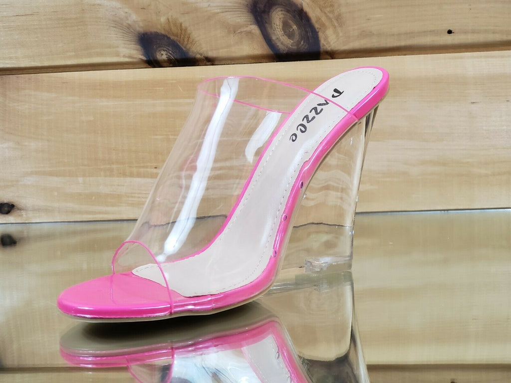 "Kariden Slide Clear Neon Fuchsia Acrylic 4.5"" Wedge Slip On High Heel Shoes 7-11"
