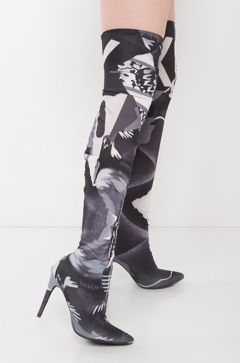 Gigi Black & White Graphic Print High Heel Pointy Toe Thigh High Stocking Boot