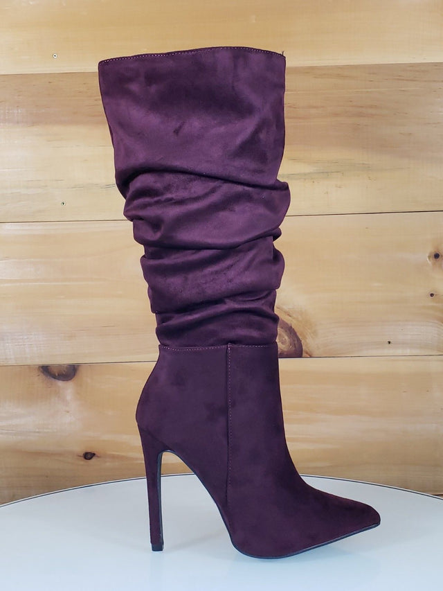 So Me Bella Wine Red Slouchy Pointy Toe High Heel Knee Boot