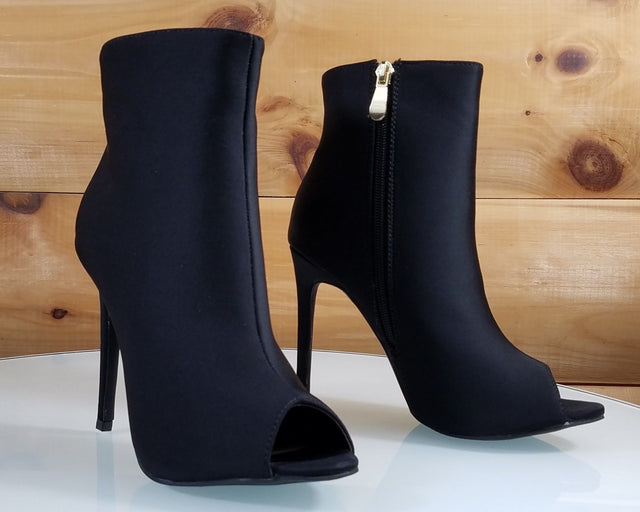 So Me Bleu Black High Heels Satin Peep Toe Ankle Boot