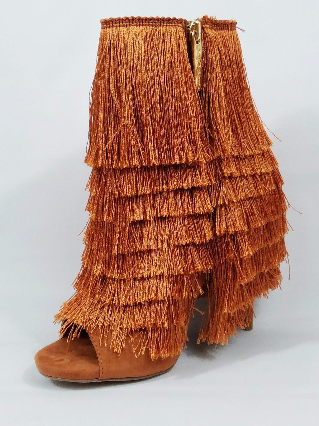Nelly Bernal B Mambo Copper Fringe Open Toe 4.75 Stiletto High Heel Ankle Boots