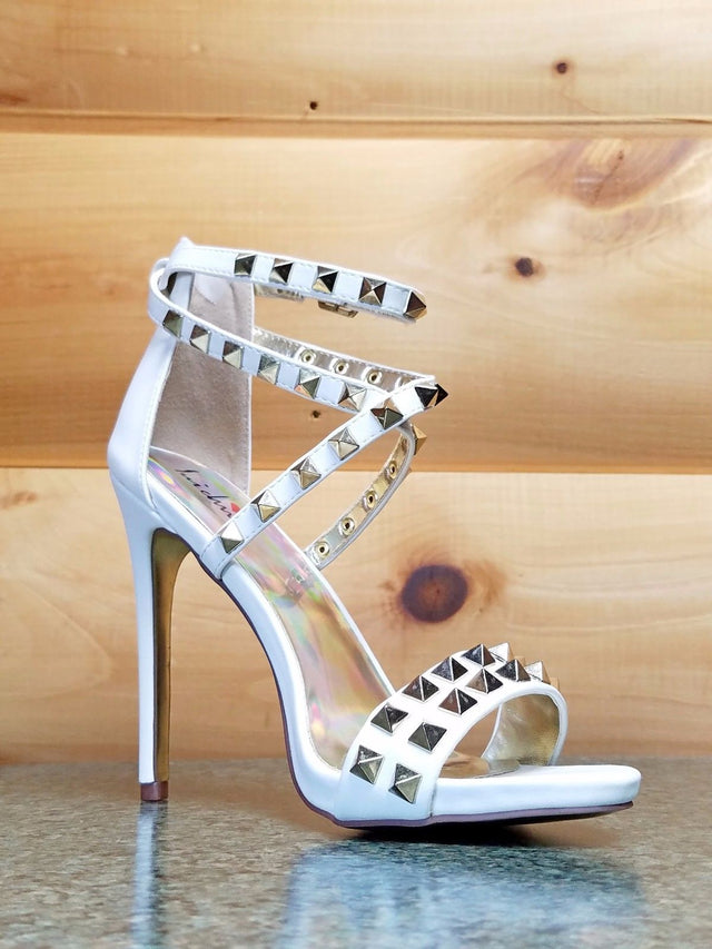"Luichiny Riot White Gold Stud Cross Strap Sandal Shoe 5"" High Heel Shoes"