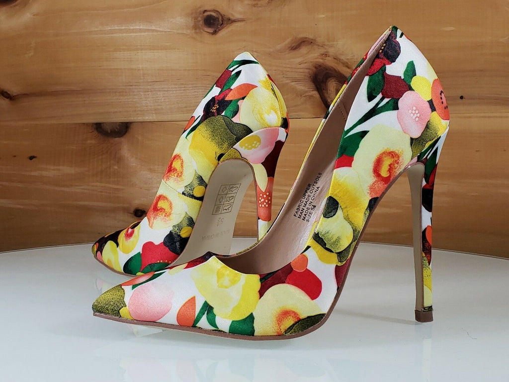 "Red Cherry Yellow Multi Floral Fruit Pointy Toe Pump Shoe 4.5"" High Heels"