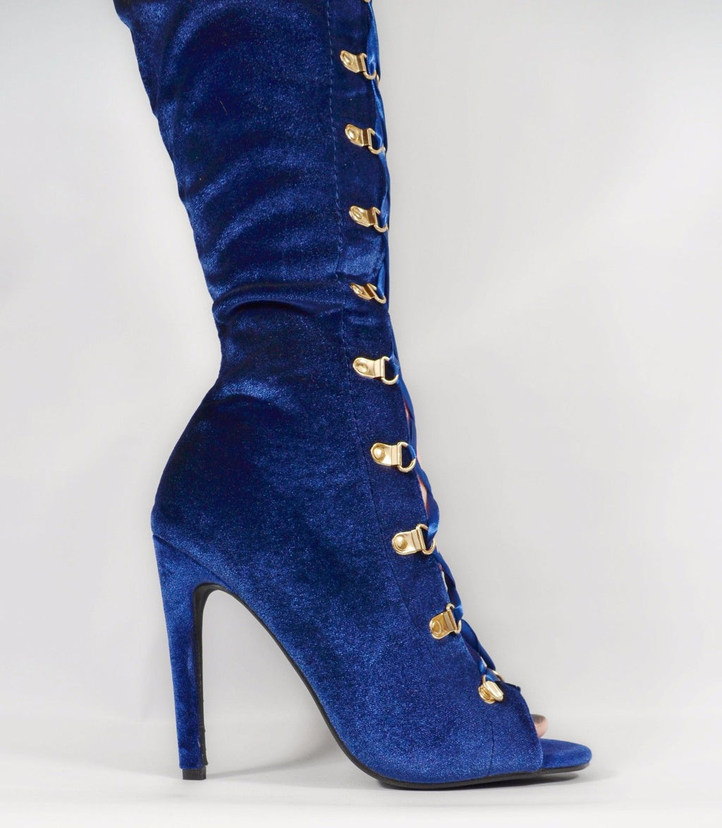 Cape Blue Velvet Lace up Front Open Toe OTK Thigh Boot High Heel