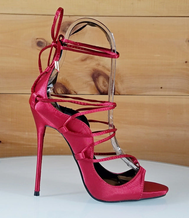 So Me Mista Demon Strappy Lace Up High Heel Shoe Satin Red