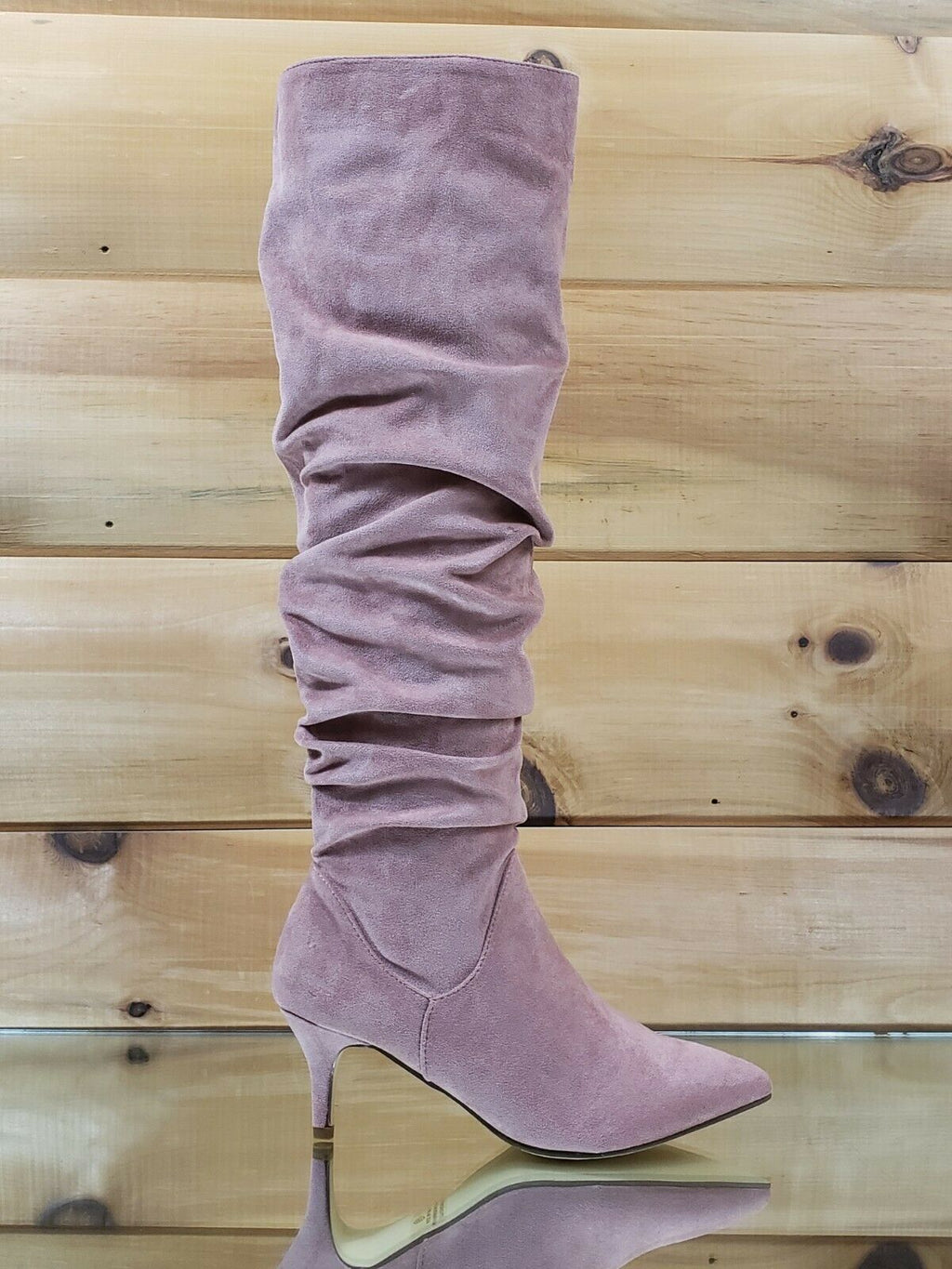 "Autumn Pointy Toe 2"" Low Kitten Heel Slouchy Knee High Boot 6.5 - 11"