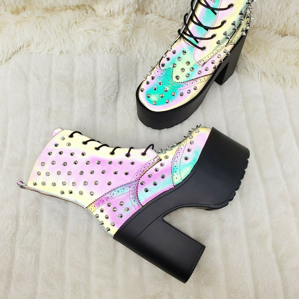 Ocho Reflective Punk Goth Rock Glam Block Heel Platform Spiked Ankle Boots - Totally Wicked Footwear