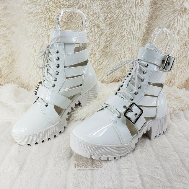 CR Beyond Combat Platform Cut Out Ankle Boot Sandals Size 6-11 White Patent