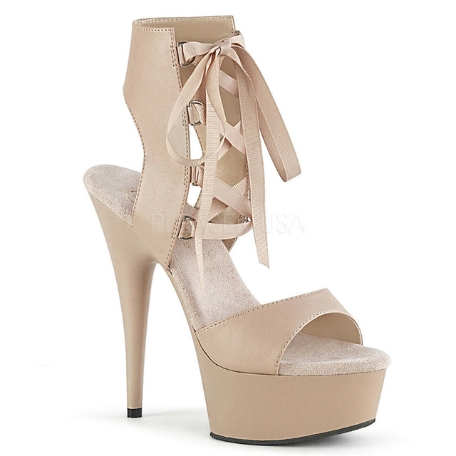 "Delight 600-14 Lace Up 6"" High Heel Nude Matte Platform Sandal Shoes"